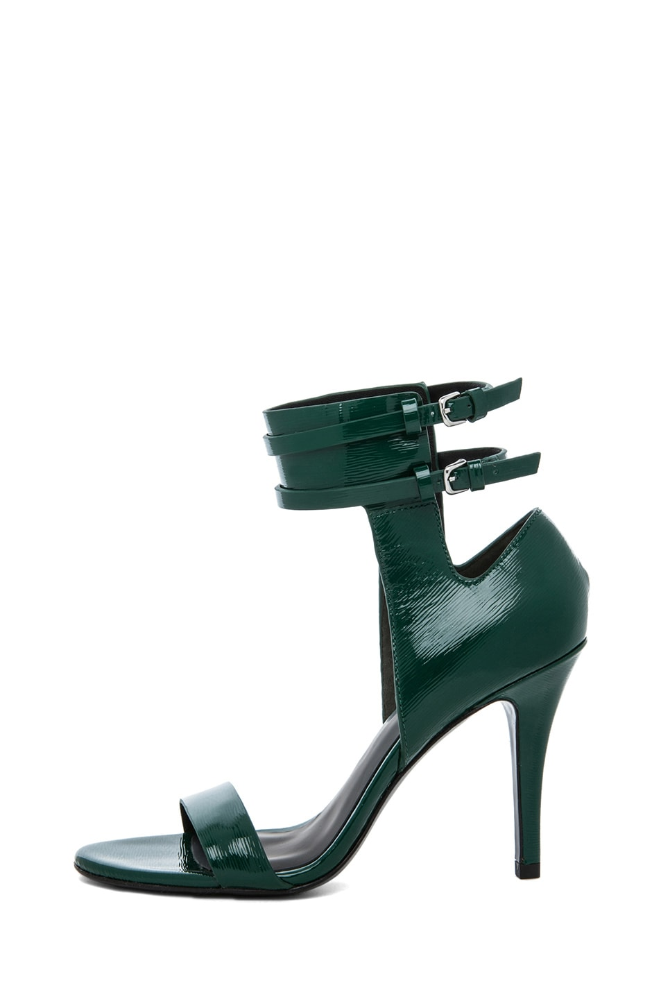 Image 1 of Alexander Wang Johanna Shiny Calf Ankle Cuff Sandal in Vine