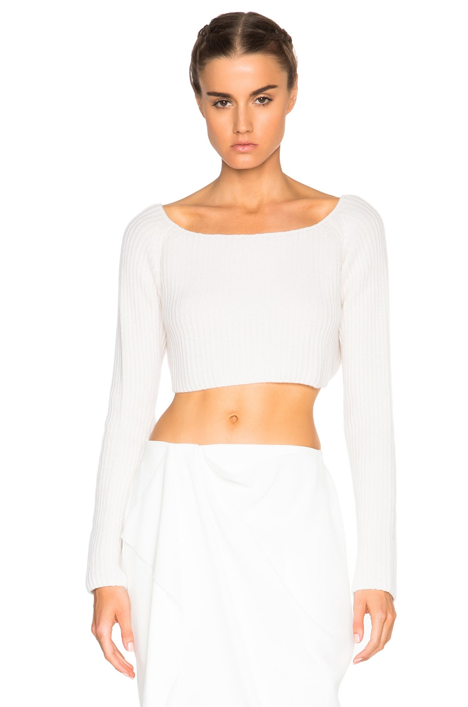 58333cccc7297 Image 1 of Baja East Cashmere Crop Sweater in Pearl