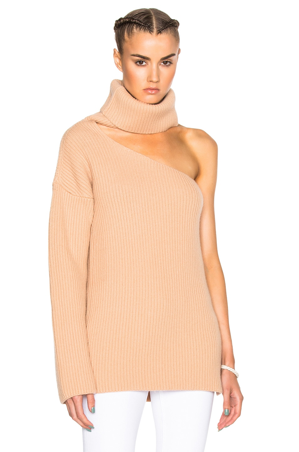 8e9994d790eb9 Image 1 of Baja East Fisherman Rib Wool Cashmere Sweater in Camel