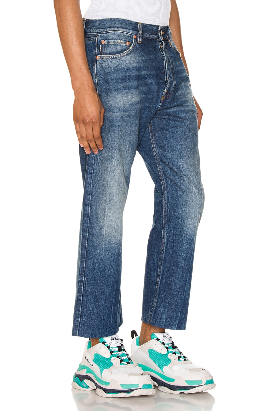 Image 2 of Balenciaga Cropped Denim Jeans in Authentic Dark Blue