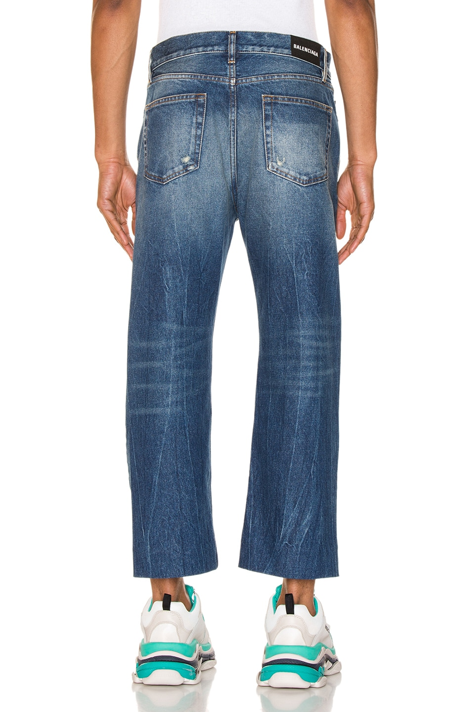 Image 3 of Balenciaga Cropped Denim Jeans in Authentic Dark Blue