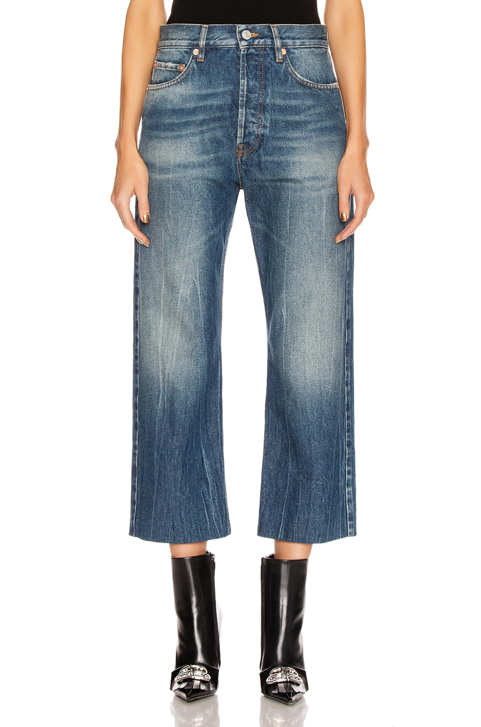 Image 1 of Balenciaga Cropped Denim Jeans in Authentic Dark Blue