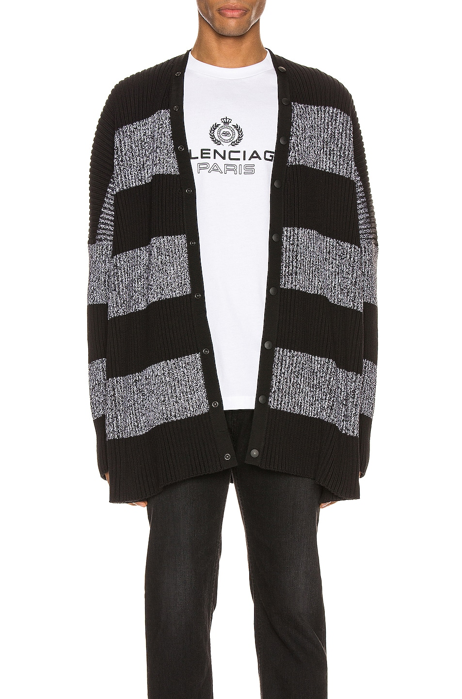 Image 2 of Balenciaga Long Sleeve Cardigan in Black & White