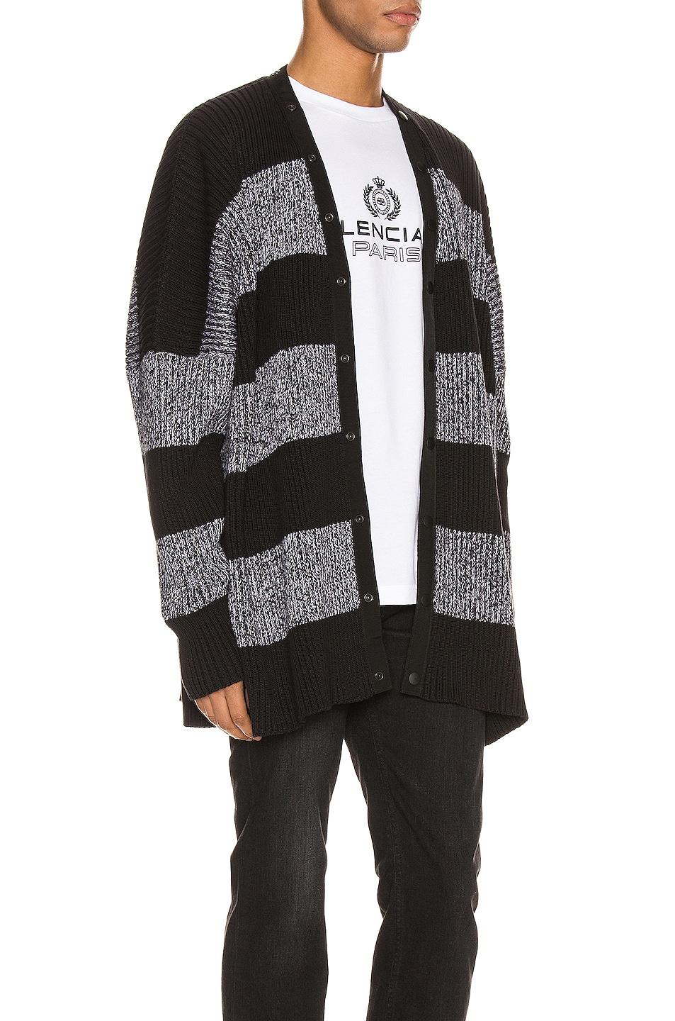 Image 4 of Balenciaga Long Sleeve Cardigan in Black & White