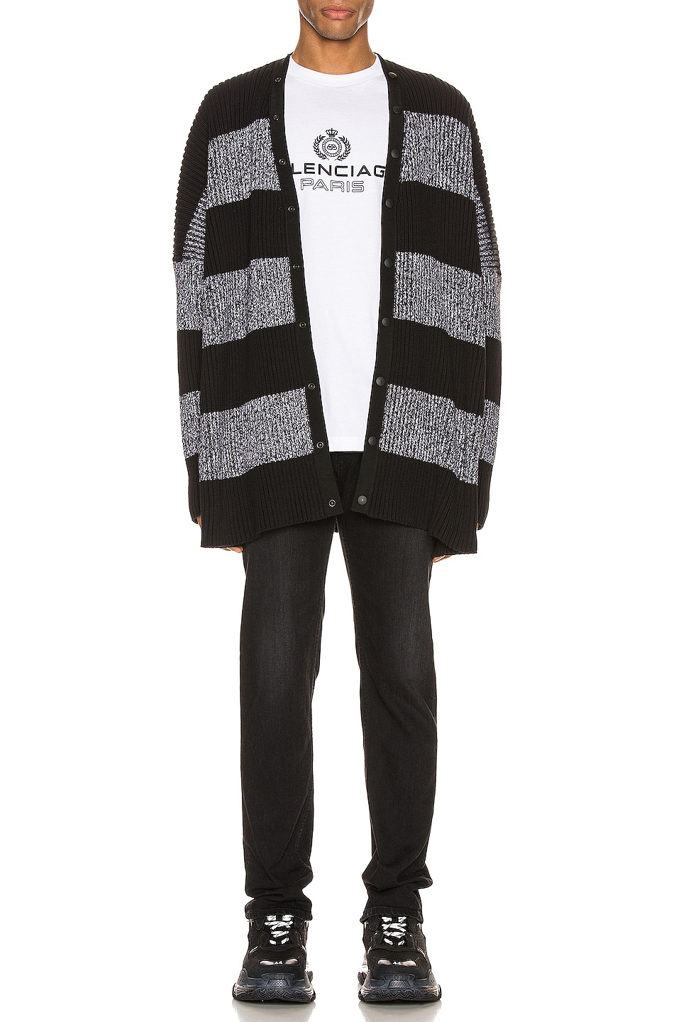 Image 6 of Balenciaga Long Sleeve Cardigan in Black & White