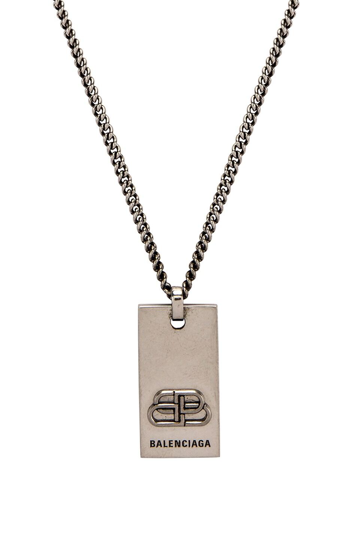 Image 1 of Balenciaga BB Necklace in Antique Silver