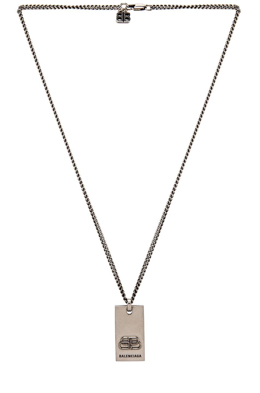 Image 2 of Balenciaga BB Necklace in Antique Silver