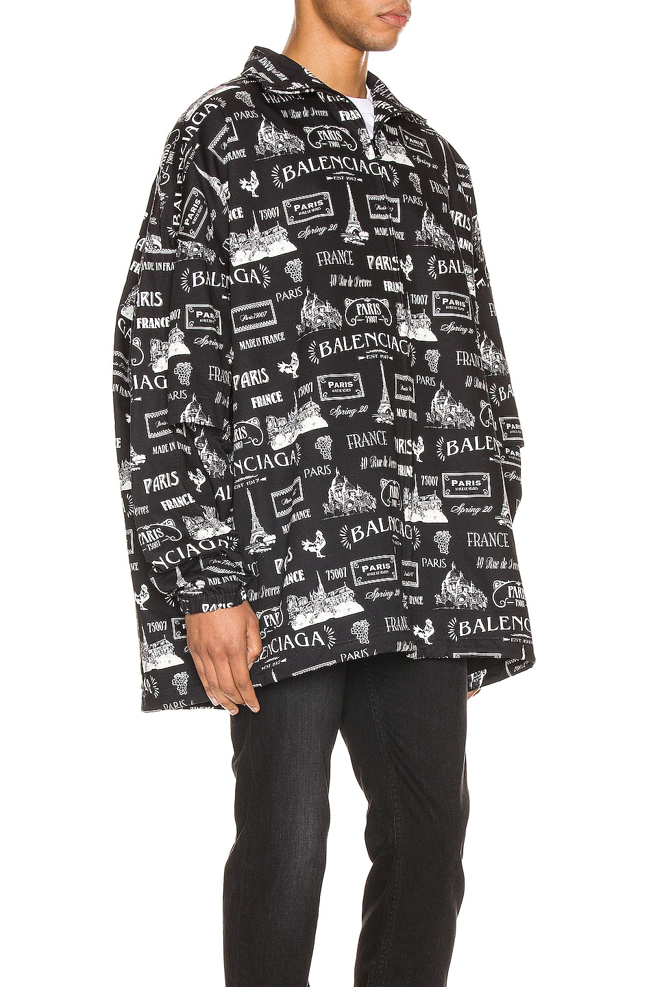 Image 4 of Balenciaga Double Sleeve Zip-Up Jacket in Black & White