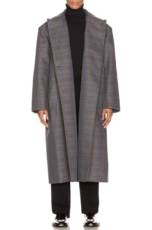 Image 1 of Balenciaga Flap Coat in Grey & Blue