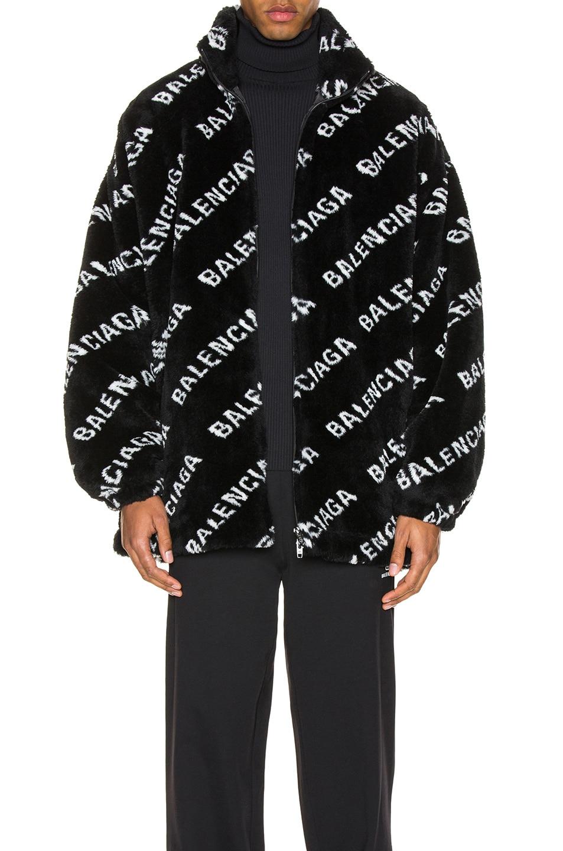 Image 1 of Balenciaga Faux Fur Zip-Up Jacket in Black & White