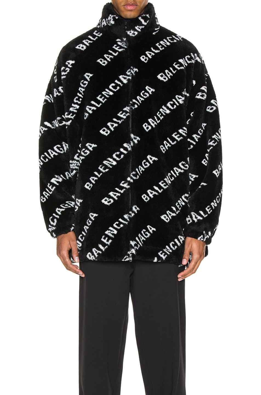 Image 2 of Balenciaga Faux Fur Zip-Up Jacket in Black & White