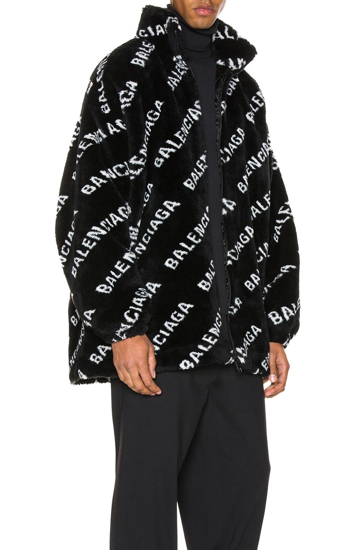 Image 3 of Balenciaga Faux Fur Zip-Up Jacket in Black & White