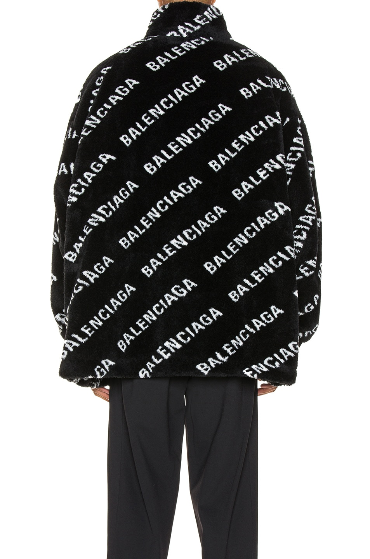 Image 4 of Balenciaga Faux Fur Zip-Up Jacket in Black & White