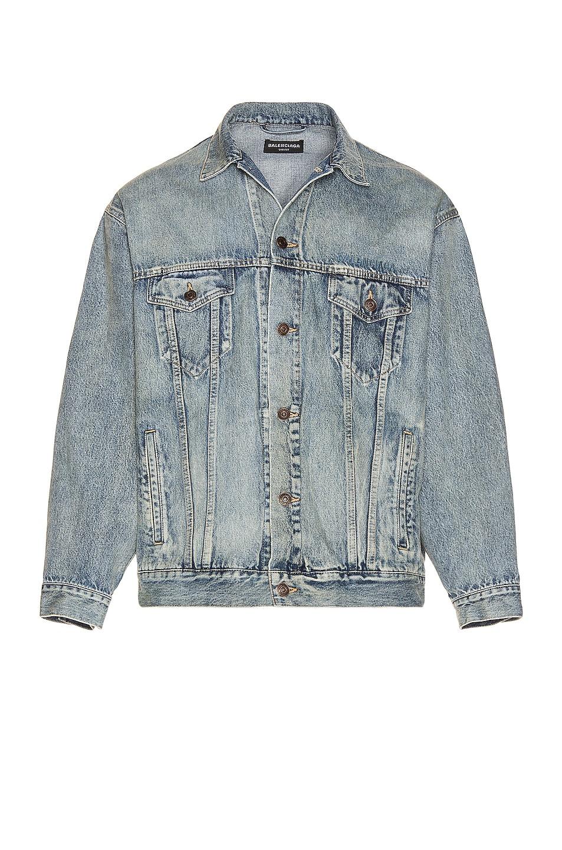 Image 1 of Balenciaga Large Fit Jacket in Washed Light Blue