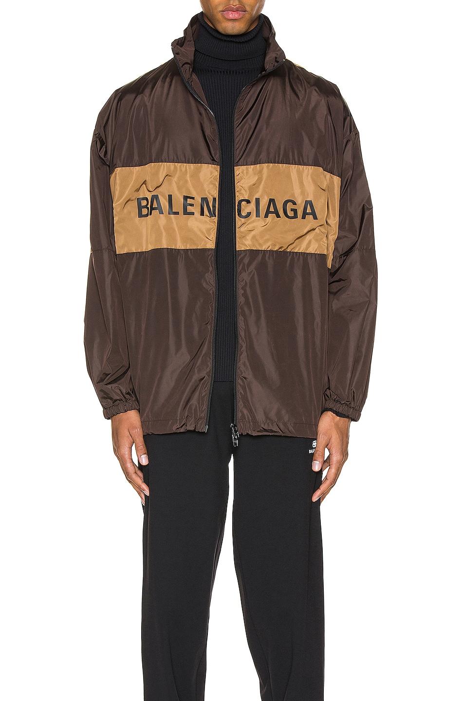Image 1 of Balenciaga Zip-Up Logo Jacket in Dark Brown