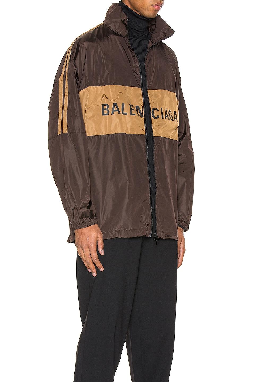 Image 3 of Balenciaga Zip-Up Logo Jacket in Dark Brown