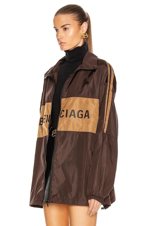 Image 4 of Balenciaga Zip-Up Logo Jacket in Dark Brown