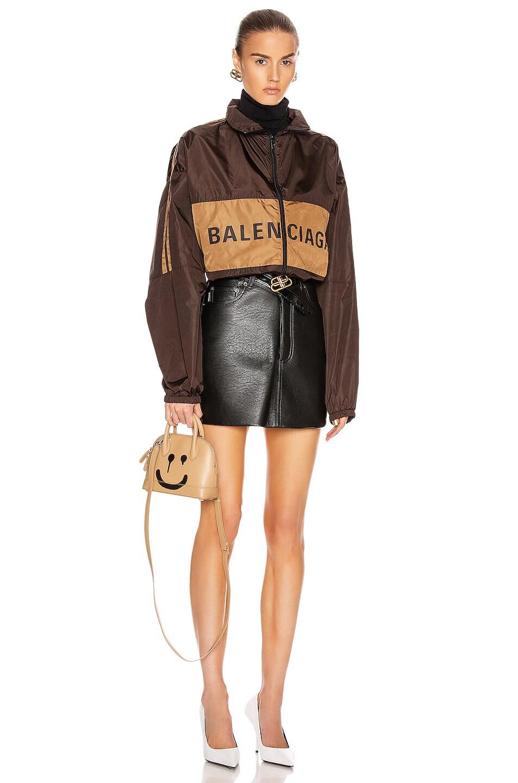 Image 6 of Balenciaga Zip-Up Logo Jacket in Dark Brown