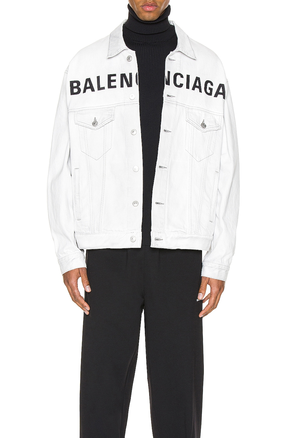Image 1 of Balenciaga Front Logo Denim Jacket in Cement Grey