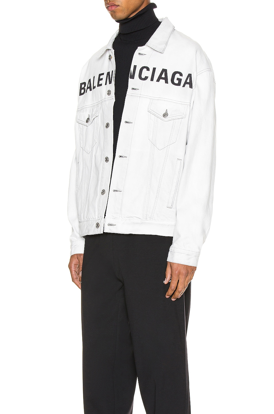 Image 4 of Balenciaga Front Logo Denim Jacket in Cement Grey