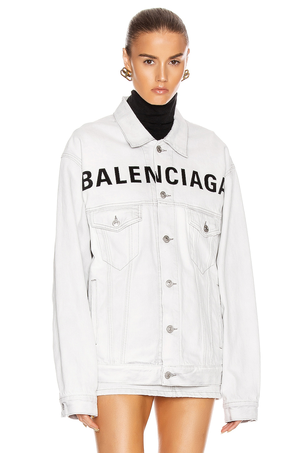 Image 2 of Balenciaga Front Logo Denim Jacket in Cement Grey