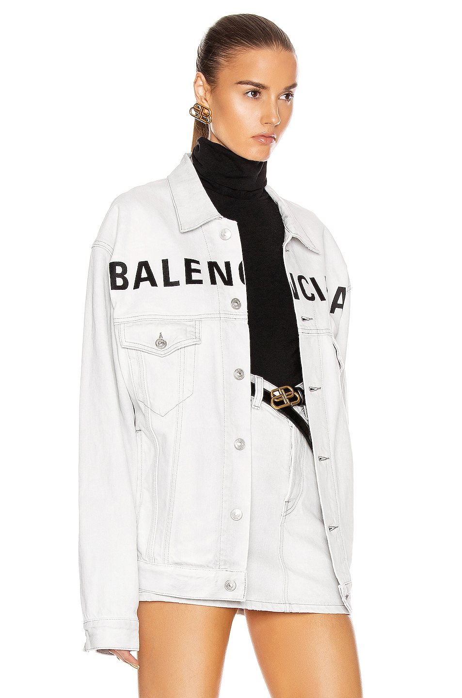 Image 3 of Balenciaga Front Logo Denim Jacket in Cement Grey