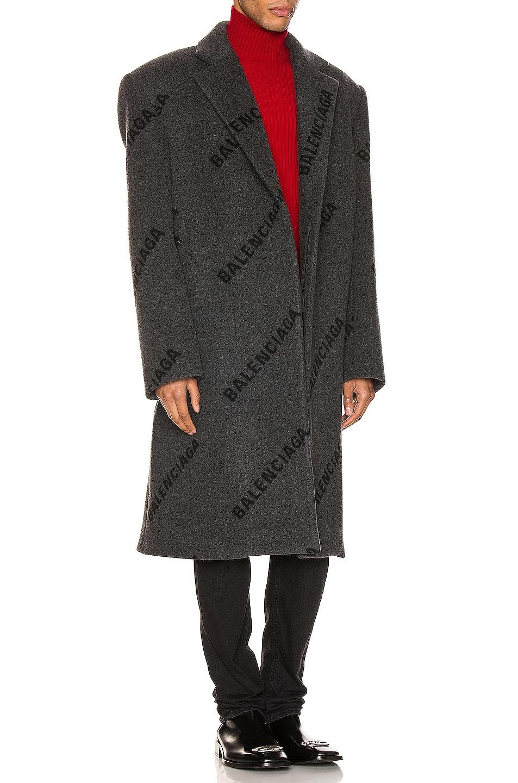 Image 3 of Balenciaga Logo Shifted Coat in Anthracite & Black