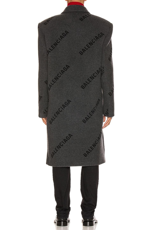 Image 4 of Balenciaga Logo Shifted Coat in Anthracite & Black