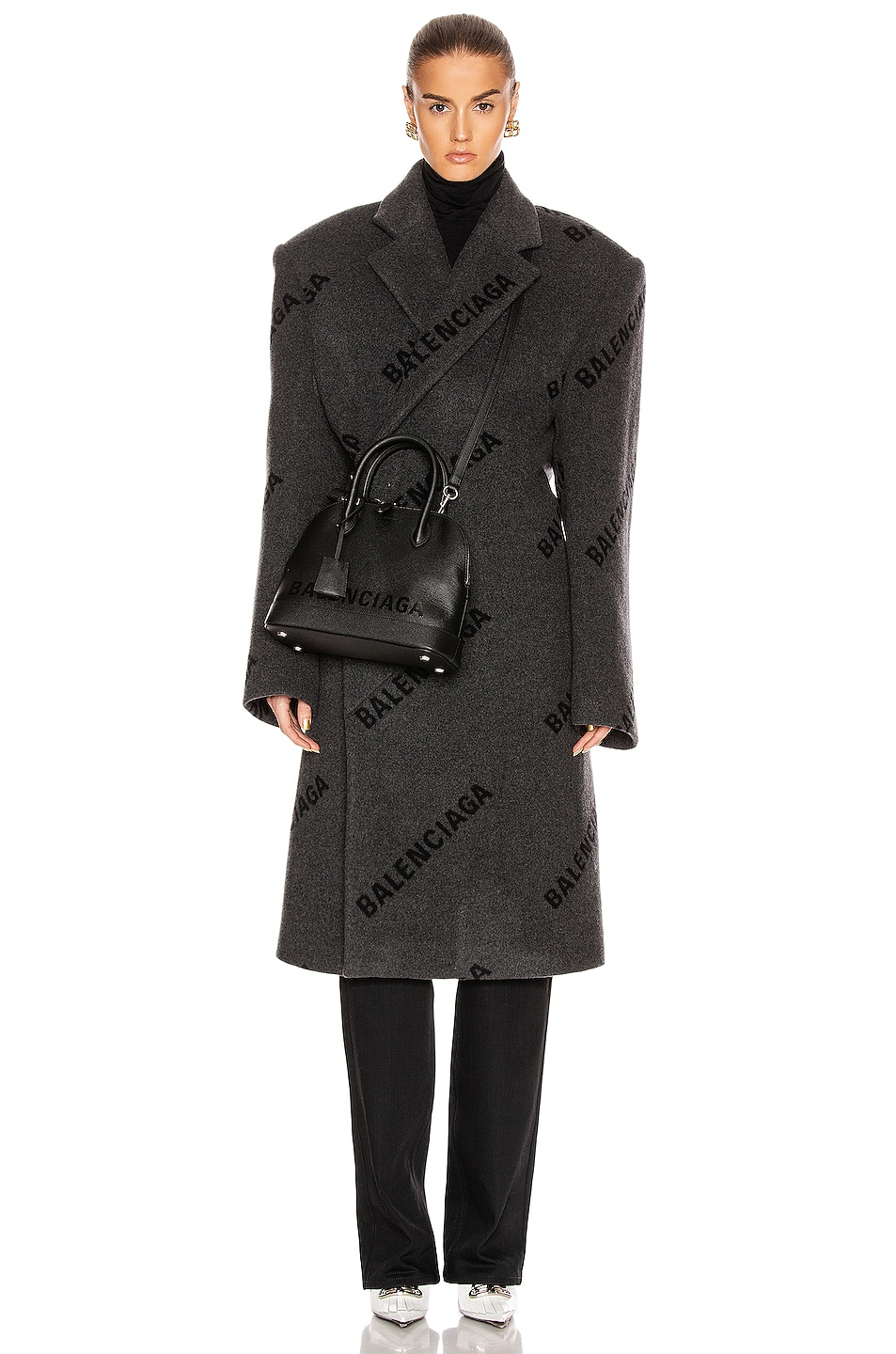 Image 1 of Balenciaga Logo Shifted Coat in Anthracite & Black