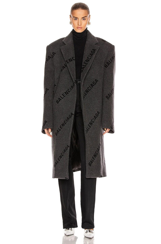 Image 2 of Balenciaga Logo Shifted Coat in Anthracite & Black