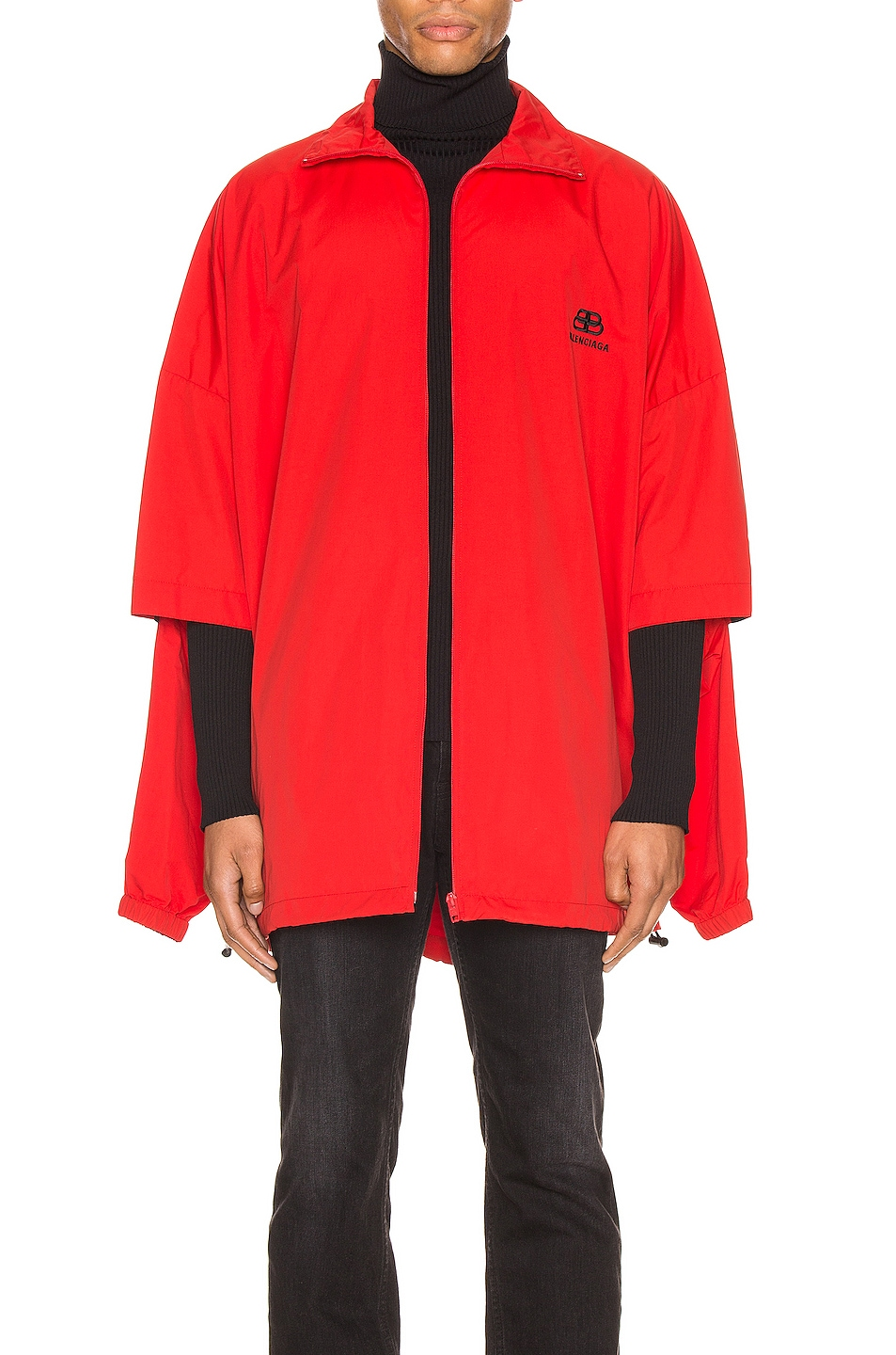 Image 2 of Balenciaga Double Sleeve Zip Up in Masai Red