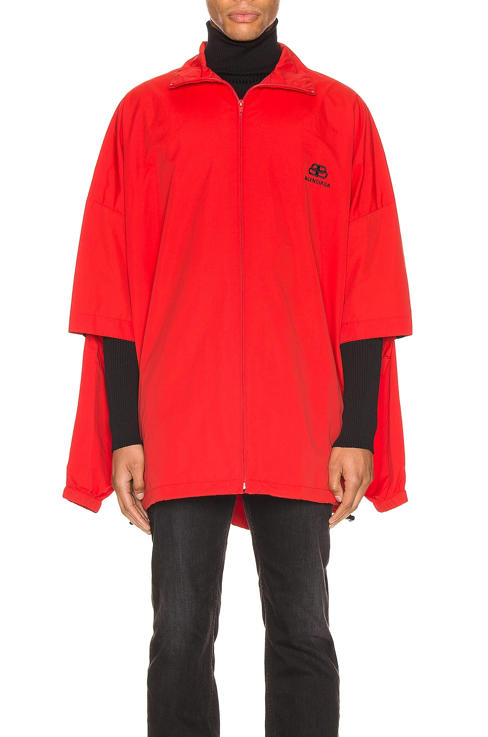 Image 3 of Balenciaga Double Sleeve Zip Up in Masai Red
