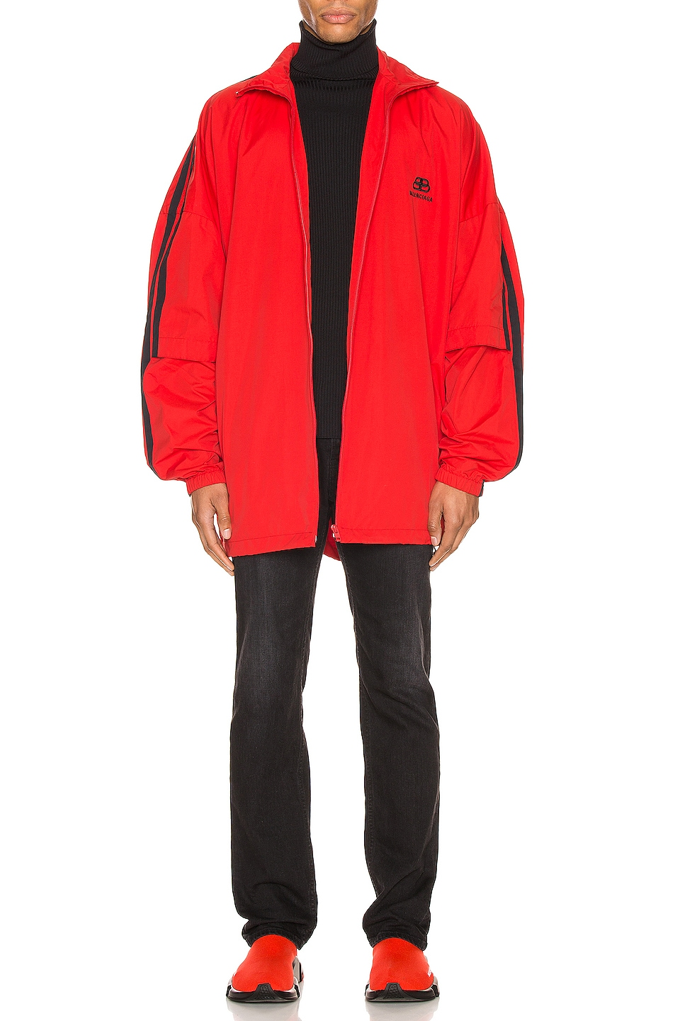 Image 6 of Balenciaga Double Sleeve Zip Up in Masai Red