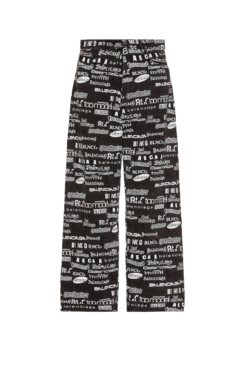 Image 1 of Balenciaga Overprint Baggy Trousers in Stonewash Black