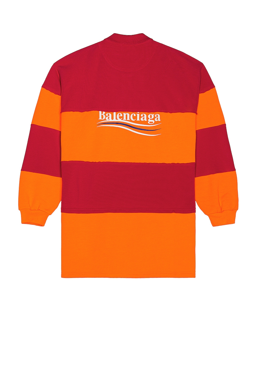 Image 1 of Balenciaga Cut Up Polo in Raspberry & Fluo Orange