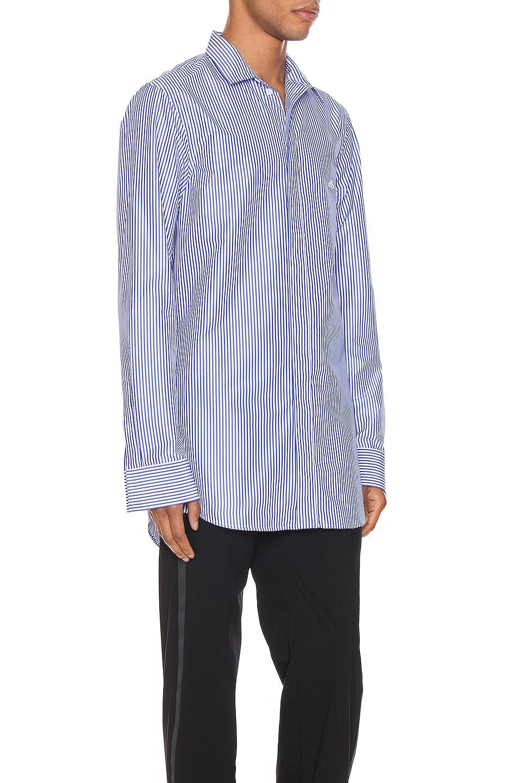 Image 2 of Balenciaga Stripe Poplin Long Sleeve Shirt in Blue & White