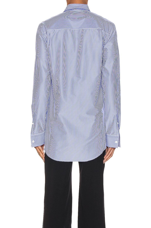 Image 3 of Balenciaga Stripe Poplin Long Sleeve Shirt in Blue & White