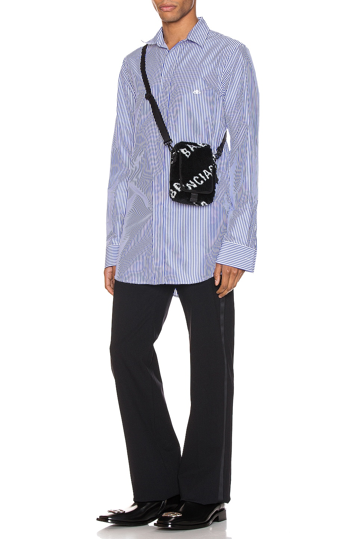 Image 4 of Balenciaga Stripe Poplin Long Sleeve Shirt in Blue & White