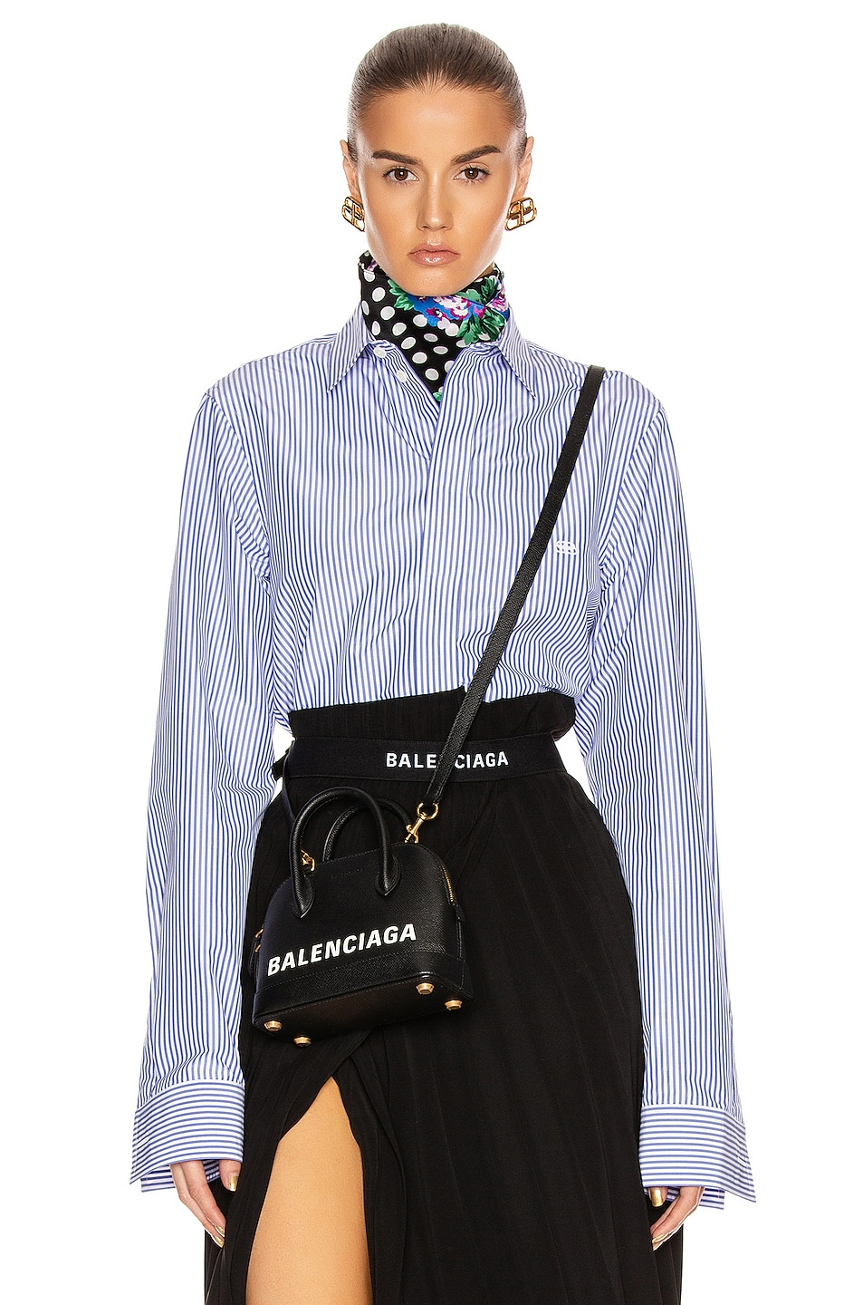 Balenciaga Shirts Stripe Poplin Long Sleeve Shirt