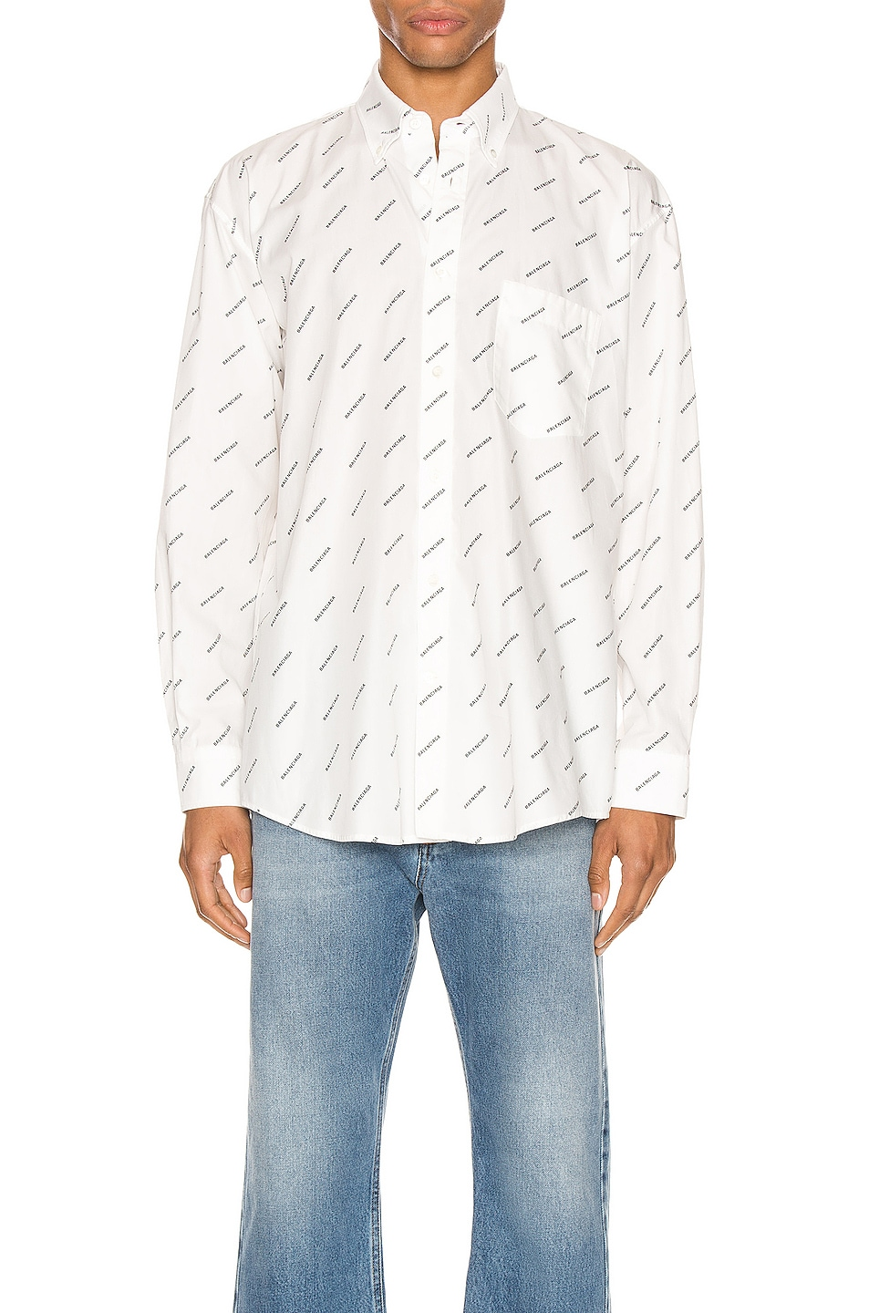 Image 1 of Balenciaga Normal Fit Long Sleeve Shirt in White & Black