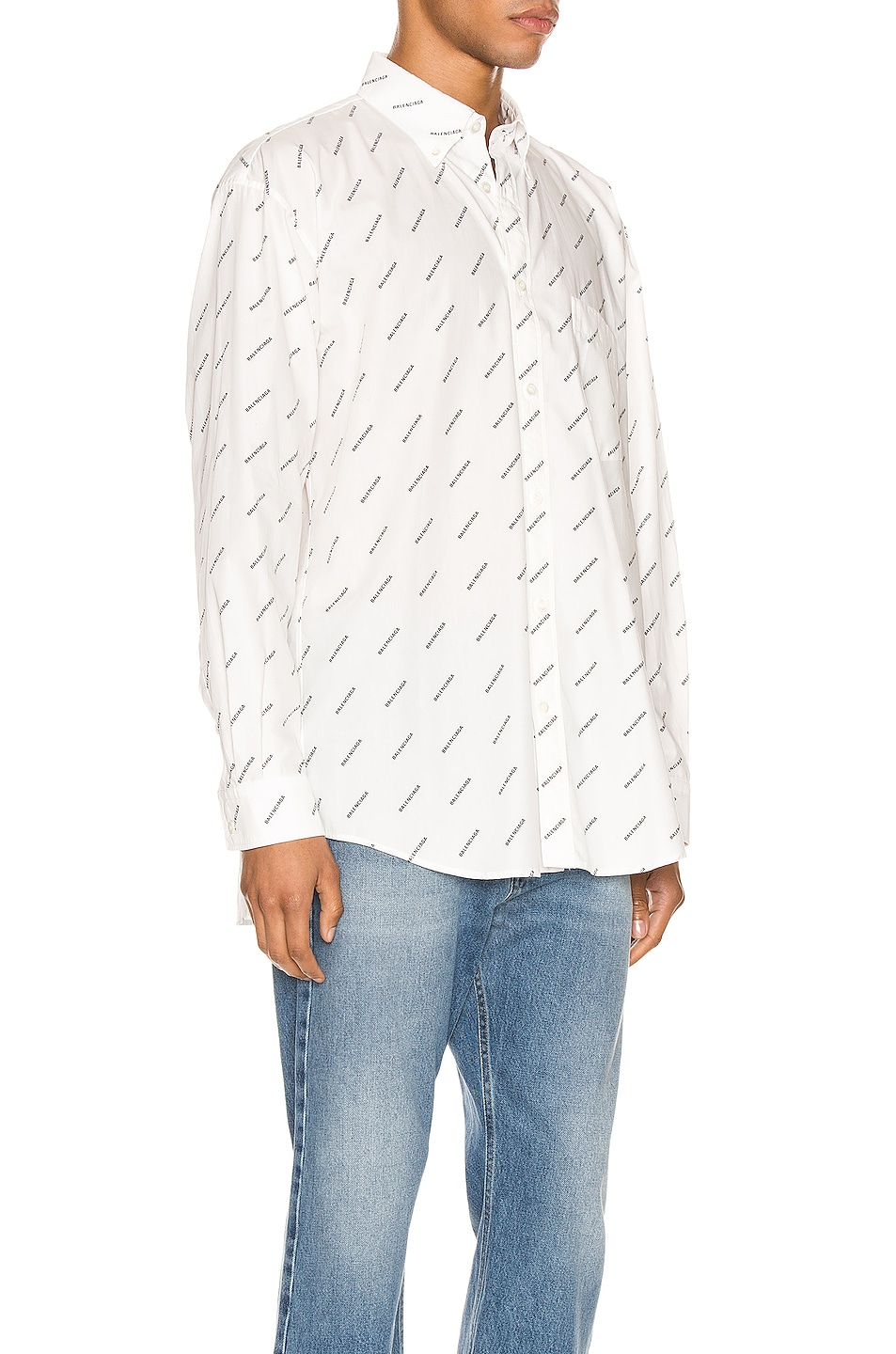 Image 2 of Balenciaga Normal Fit Long Sleeve Shirt in White & Black