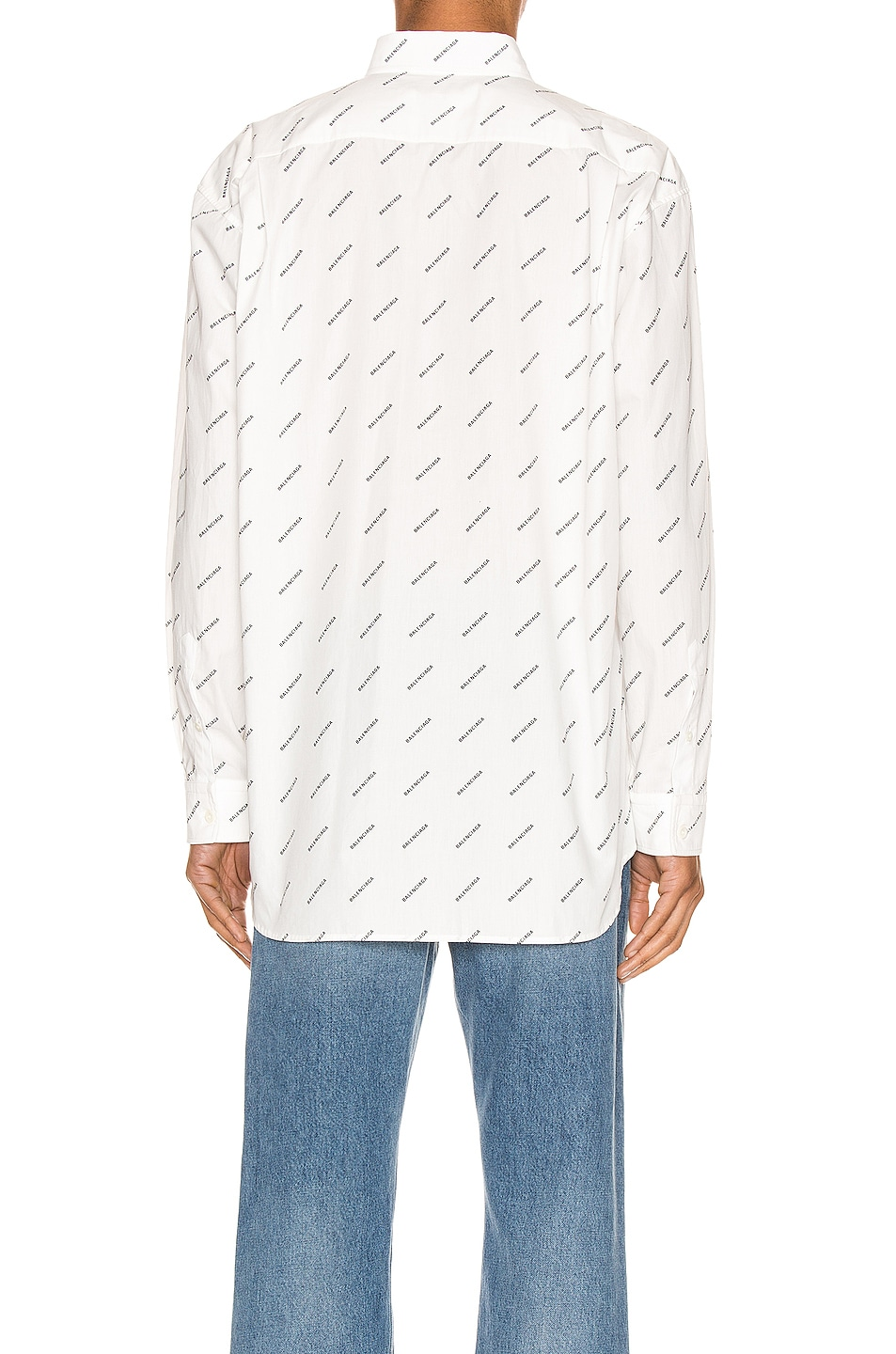 Image 3 of Balenciaga Normal Fit Long Sleeve Shirt in White & Black