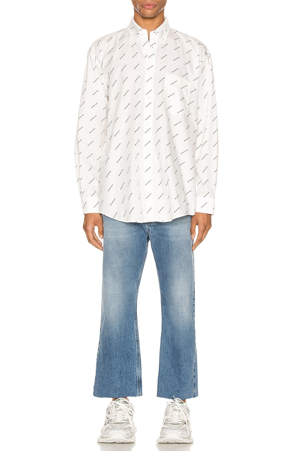 Image 4 of Balenciaga Normal Fit Long Sleeve Shirt in White & Black
