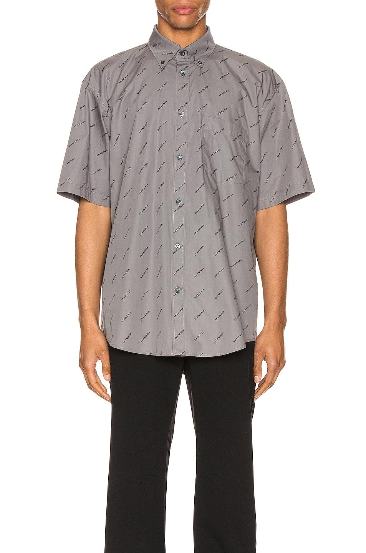 Image 1 of Balenciaga Short Sleeve Normal Fit Shirt in Grey & Black