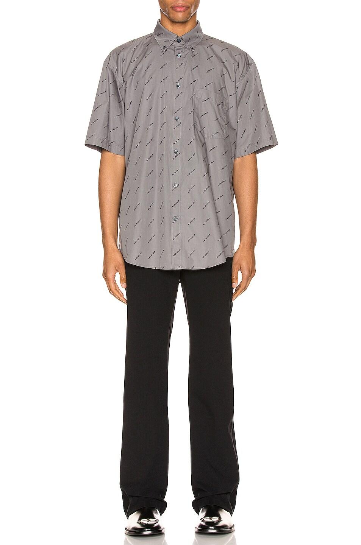 Image 4 of Balenciaga Short Sleeve Normal Fit Shirt in Grey & Black