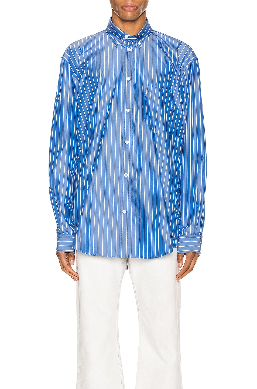 Image 2 of Balenciaga Long Sleeve Logo Shirt in Blue & White