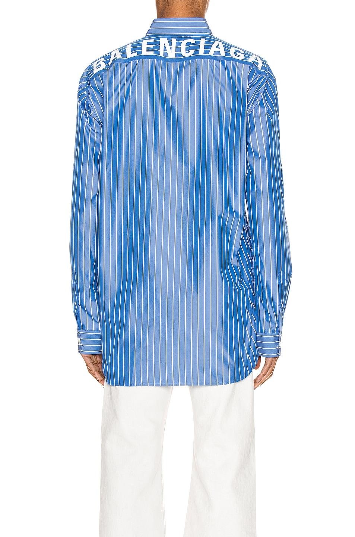 Image 4 of Balenciaga Long Sleeve Logo Shirt in Blue & White