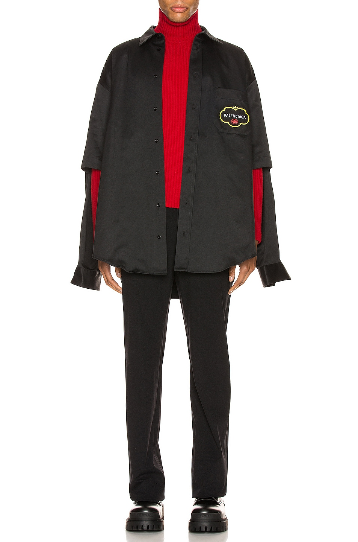 Image 7 of Balenciaga Double Sleeve Shirt in Black