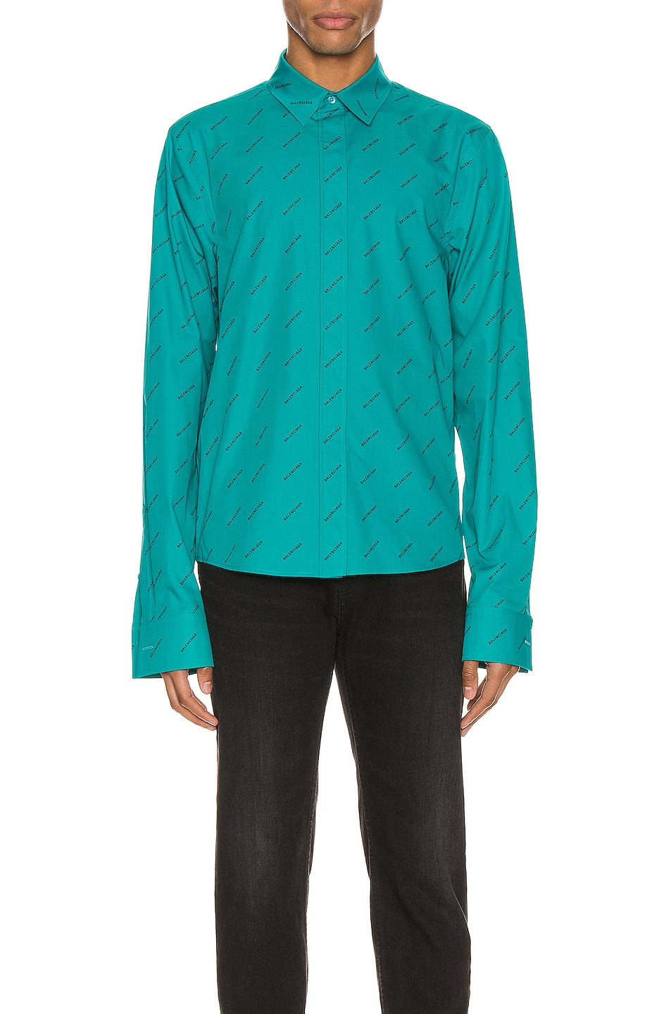 Image 1 of Balenciaga Fitted Shirt in Turquoise & Black