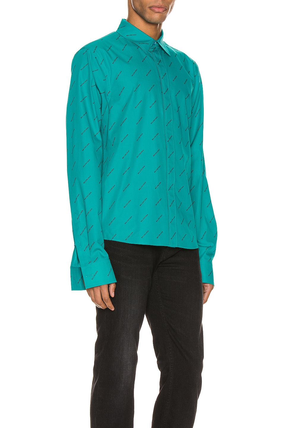 Image 2 of Balenciaga Fitted Shirt in Turquoise & Black